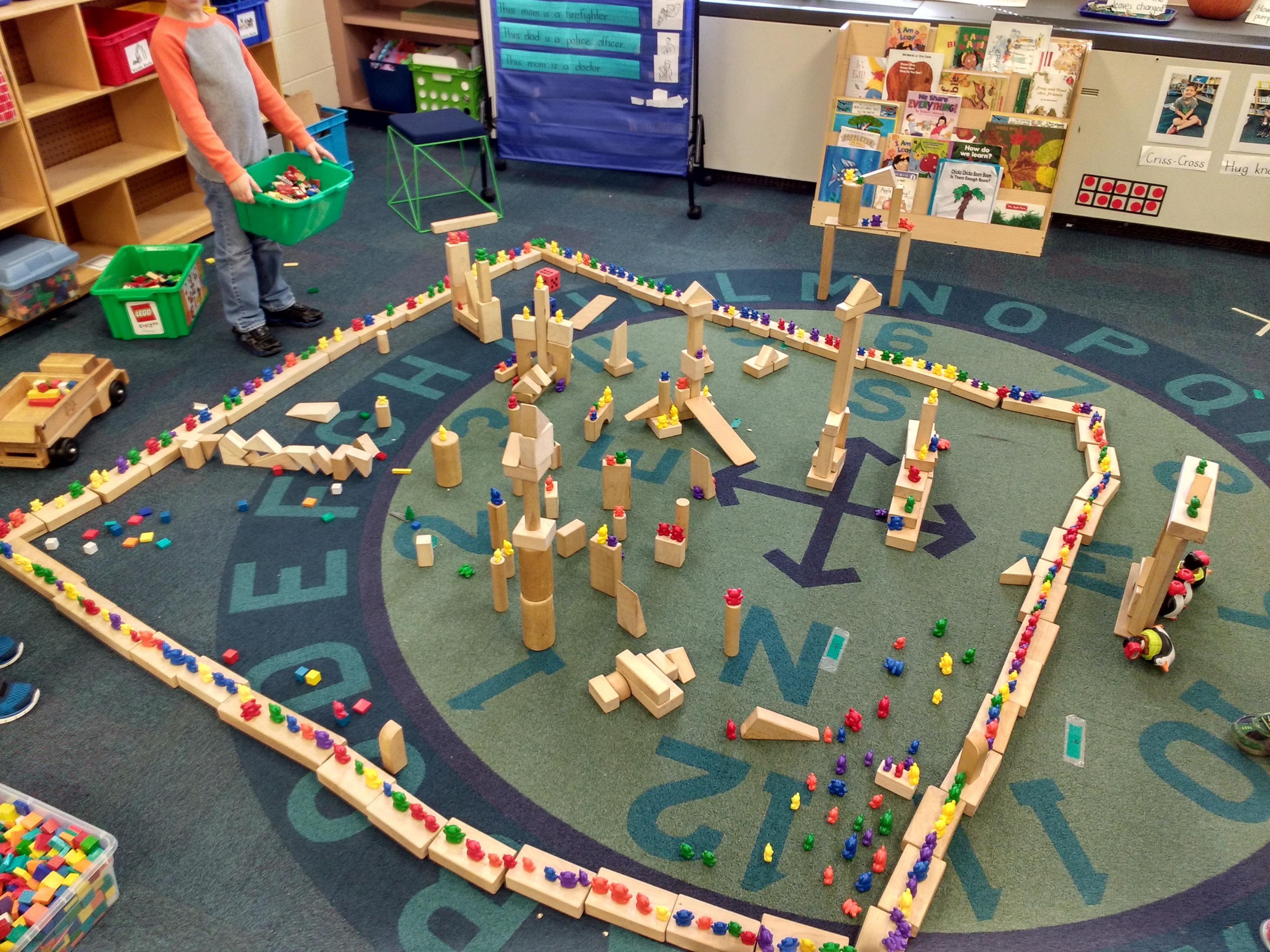 Children pull items from a variety of centers to create this elaborate structure.