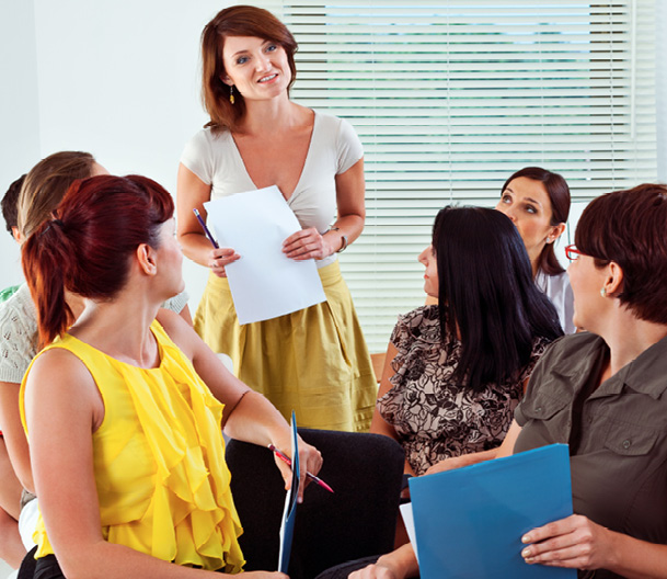 Teachers take part in a professional development class.