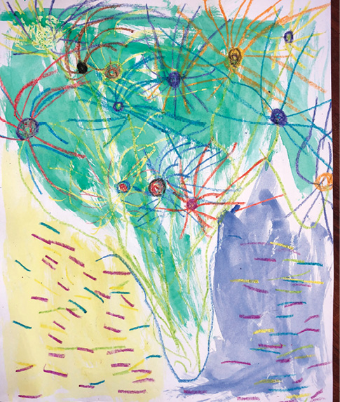 Child's artwork inspired by van Gogh's Sunflowers