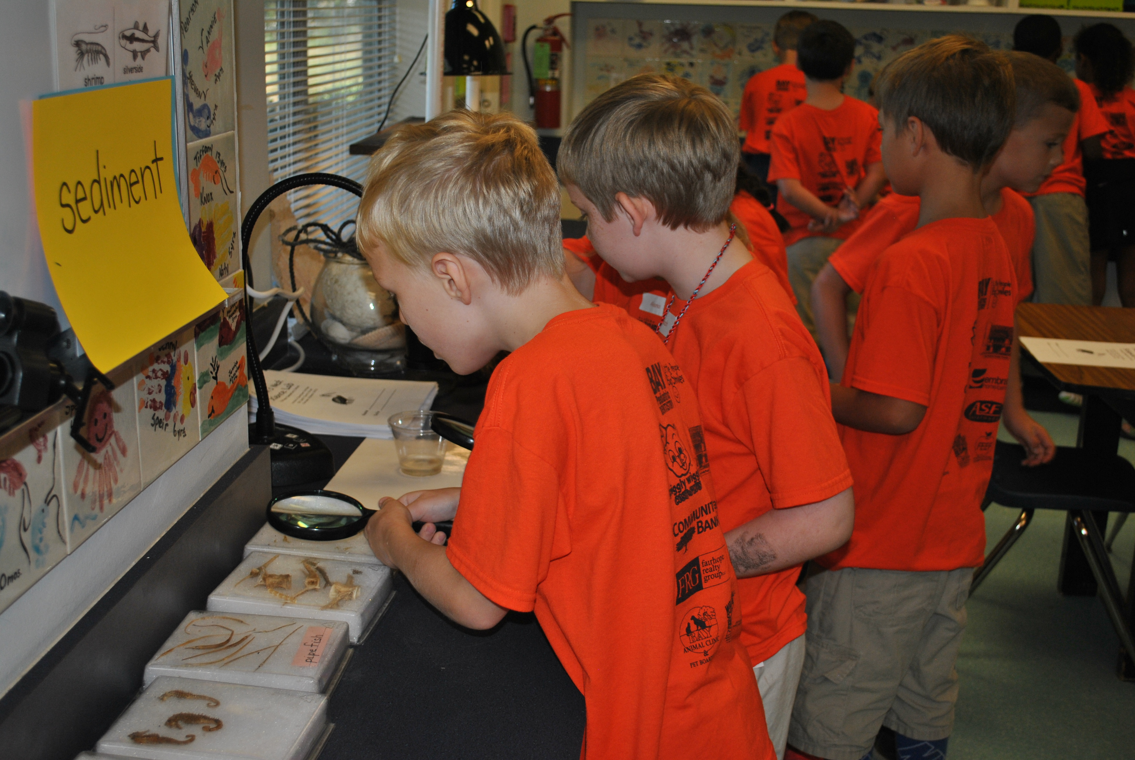 Second-graders explore the Pelican's Nest upon arrival.
