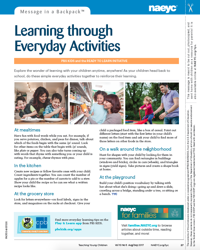 Message in a Backpack™ Learning through Everyday Activities | NAEYC