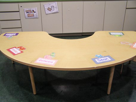 Half-circle shaped table with labels featuring student names taped at intervals on the tabletop