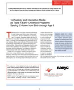 Technology and Interactive Media as Tools in Early Childhood Programs Serving Children from Birth through Age 8
