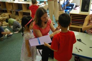 Teacher spends time in school with kindergartner