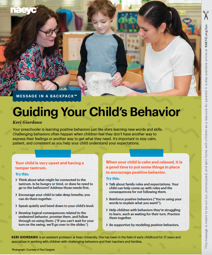 Message In A Backpack Guiding Your Childs Behavior Naeyc