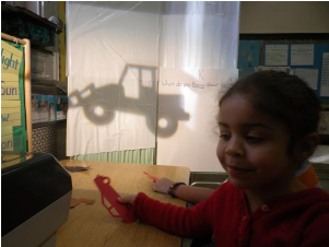 Kid playing with overhead projector