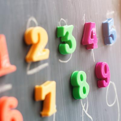 Magnetic numbers on chalkboard
