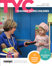 Cover of the February/March issue of TYC, featuring a preschool teacher and a young girl.