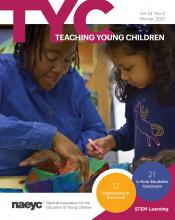 The cover of the publication Teaching Young Children, Volume 14, Number 2