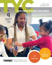 Cover of TYC print issue featuring a teacher and two preschoolers in the classroom