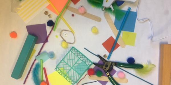 Loose materials for making and tinkering on a desk