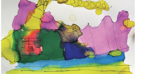 Child's illustration of a family house