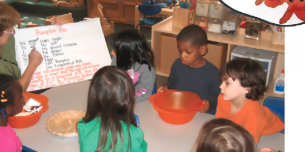 Students reading ingredients to make pumpkin pie