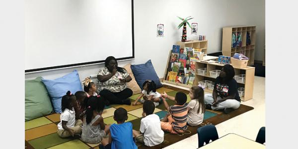 Teacher and students during circle time