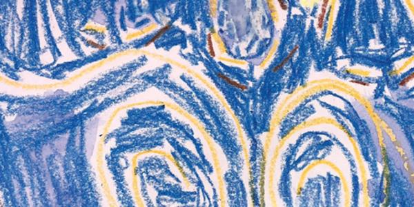 Child's artwork inspired by van Gogh's Starry Night