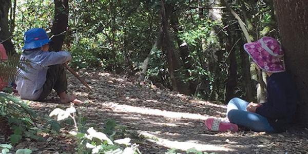 Children sitting in woods