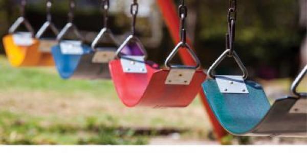 Row of colorful swings