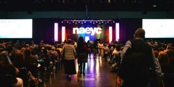 Attendees walking into opening session at an NAEYC conference