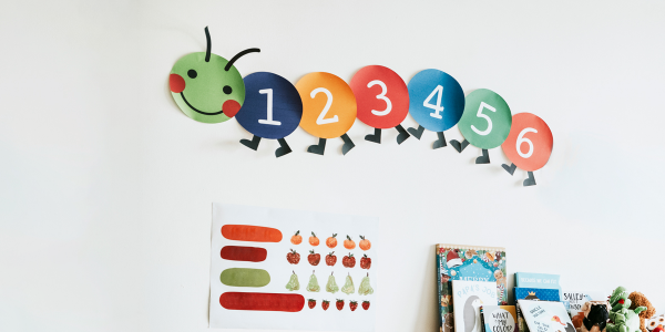 Image of numbers on a classroom wall in the shape of a caterpillar