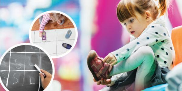 A collage of a young girl taking off her shoe, laying it on chart paper to categorize it with other shoes, and a blackboard.