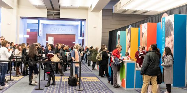 Annual Conference 2018 attendees get in line to register in Washington, D.C.