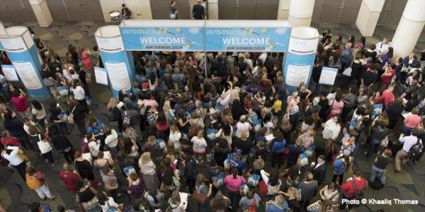 Attendees of the 2015 NAEYC Annual Conference await the Grand Opening of the Exhibit Hall
