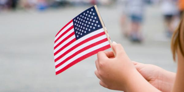 Celebrating the Fourth of July with the American flag