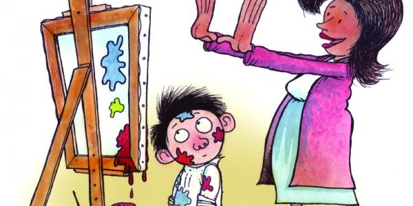 Cartoon illustration of teacher admiring child's painting.