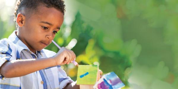 Child painting birdhouse