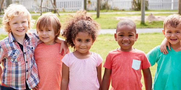 Group of children posing outside