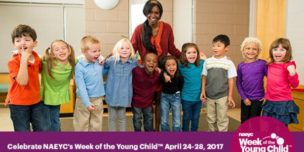 Teacher and children—Week of the Young Child.