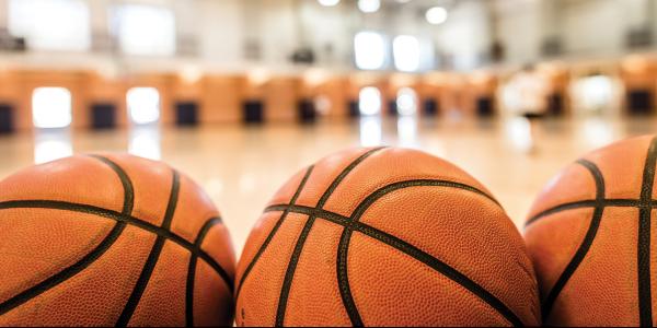 Basketballs in a gym