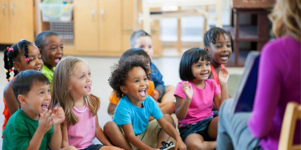 Young children enjoy a read aloud