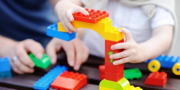 Child using blocks