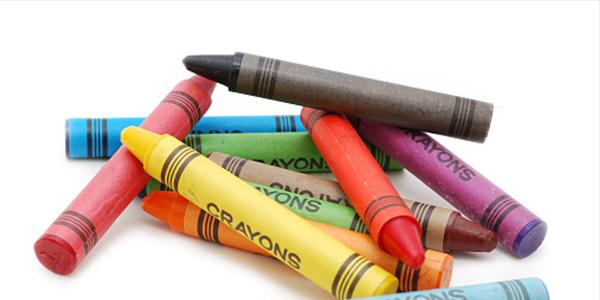 a pile of crayons