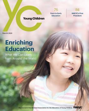 Cover of the March 2020 issue of Young Children, featuring a preschool girl smiling outside