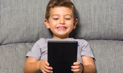 Young boy with tablet