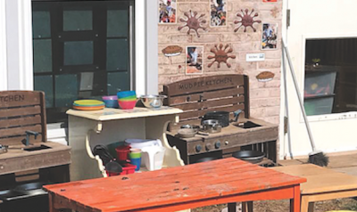 Mud kitchen materials in outside patio