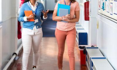 teachers walking in hallway
