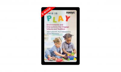 e-book cover for This is Play, featuring two toddlers playing with colored blocks