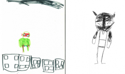 Child illustration of superheroes