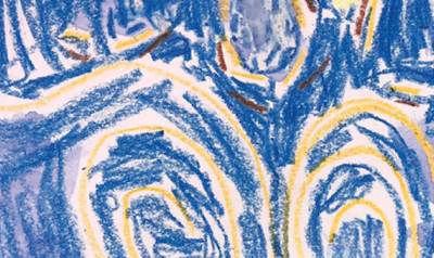 Child's artwork inspired by van Gogh's Starry Night