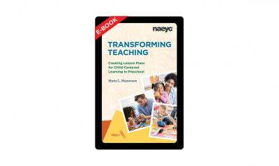 The cover of the e-book Transforming Teaching: Creating Lesson Plans for Child-Centered Learning in Preschool