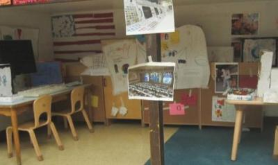 A classroom space children turned into a command center