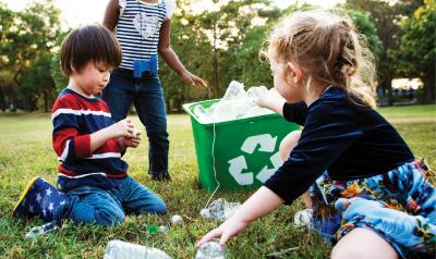 Children sorting recycling