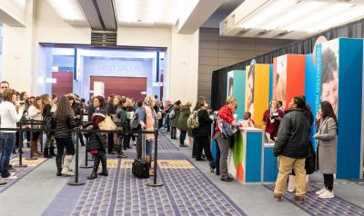 Attendees gather to register for the 2018 NAEYC Annual Conference in Washington, DC.