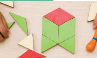 Playing with geometric shaped blocks