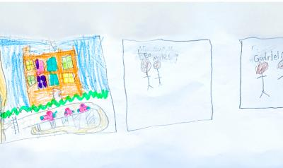 a piece of childrens artwork with people and a house
