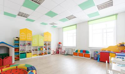 Organized, clean preschool classroom without children