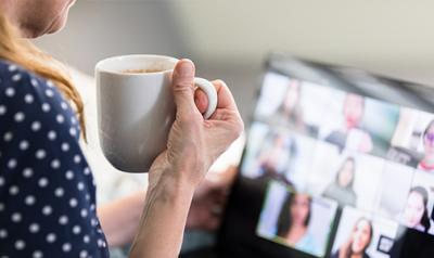 woman at a computer on a video conference